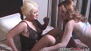 Lesbian strapon hotel femdom adventure with two wives