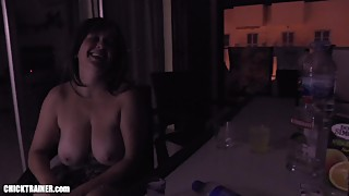 Spin the Bottle! Cumshot Drinking Game with Big Tits Wifey Britney Swallows