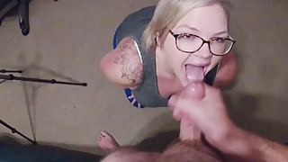 Wife sucks cock and jets a facial