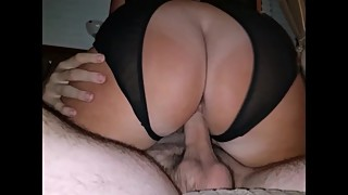 Wife's big ass bouncing on my friend's cock - 2 cocks 1 mouth