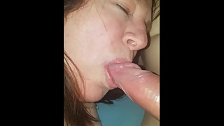 Wife sucks boyfriends big cock while I fuck her