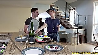 Bored military wife crawls over and blowjob her stepsons large boner