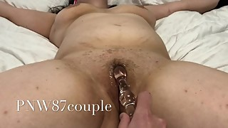 Strapped down Using toy on wife as she creams from her pussy.