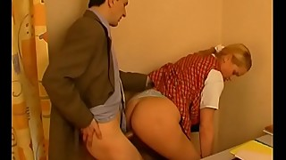 Russian blonde wife cheats with freaky ugly older big-dicked teacher