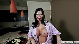 Hot momma Jasmin Jae cant hides her perfect big tits in her robe so her horny stepson whips his cock out and she suck his tasty dick into euphoria.