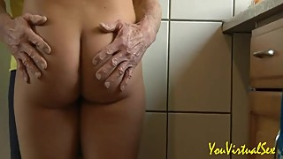 My slutty wife giving a blowjob at an elderly plumber well equipped