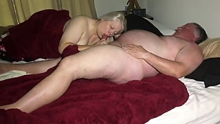 The wife takes a big load in her mouth and swallows it all